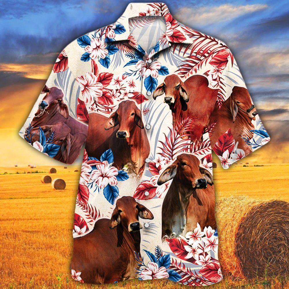Red Brahman Cattle Lovers American Flag Hawaiian Shirt