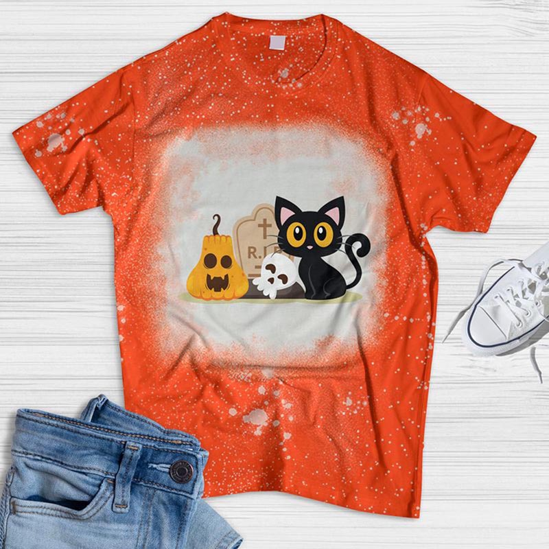 Rip Cat and Pumpkin Bleached T-shirt