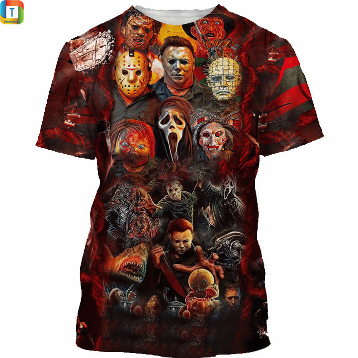Horror life horror characters 3d all over printed shirt