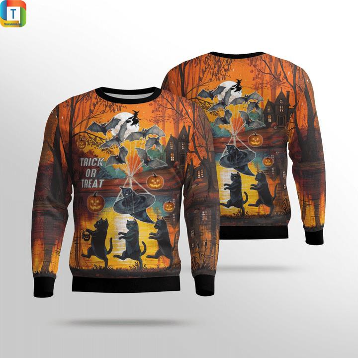Spooky halloween black cat trick or treat 3d all over printed hoodie 1