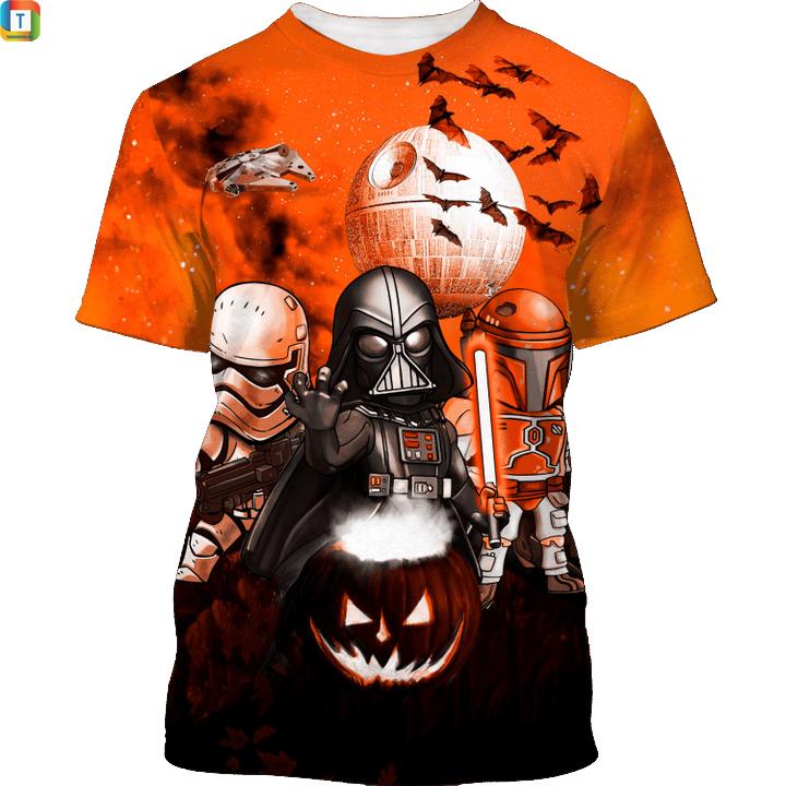 Star wars darth vader boba fett stormtrooper halloween night t shirt