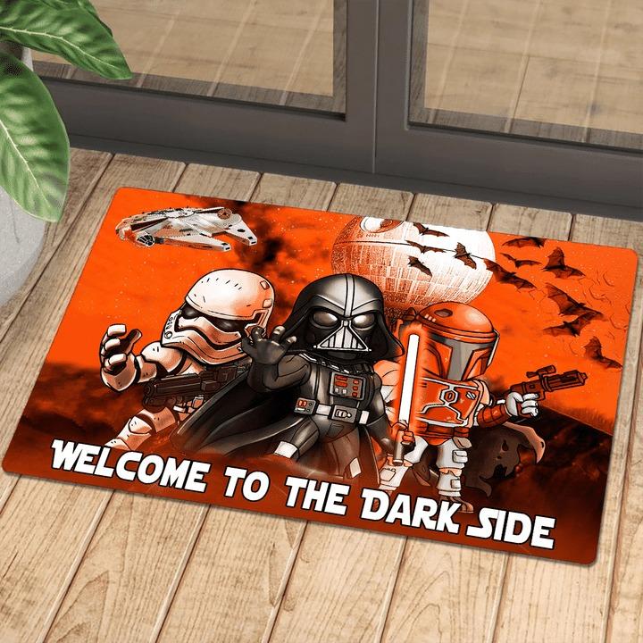 Star wars darth vader stormtrooper and boba fett halloween night welcome to the dark side doormat 3