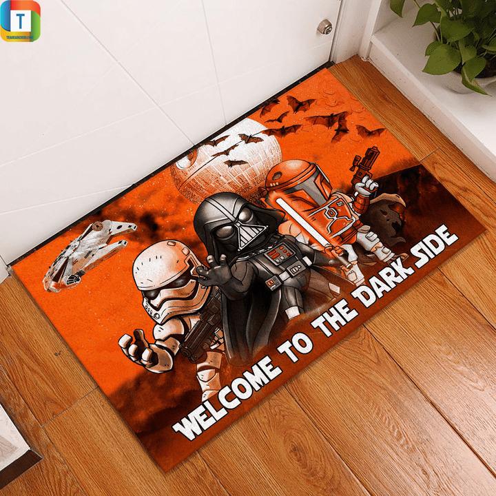 Star wars darth vader stormtrooper and boba fett halloween night welcome to the dark side doormat