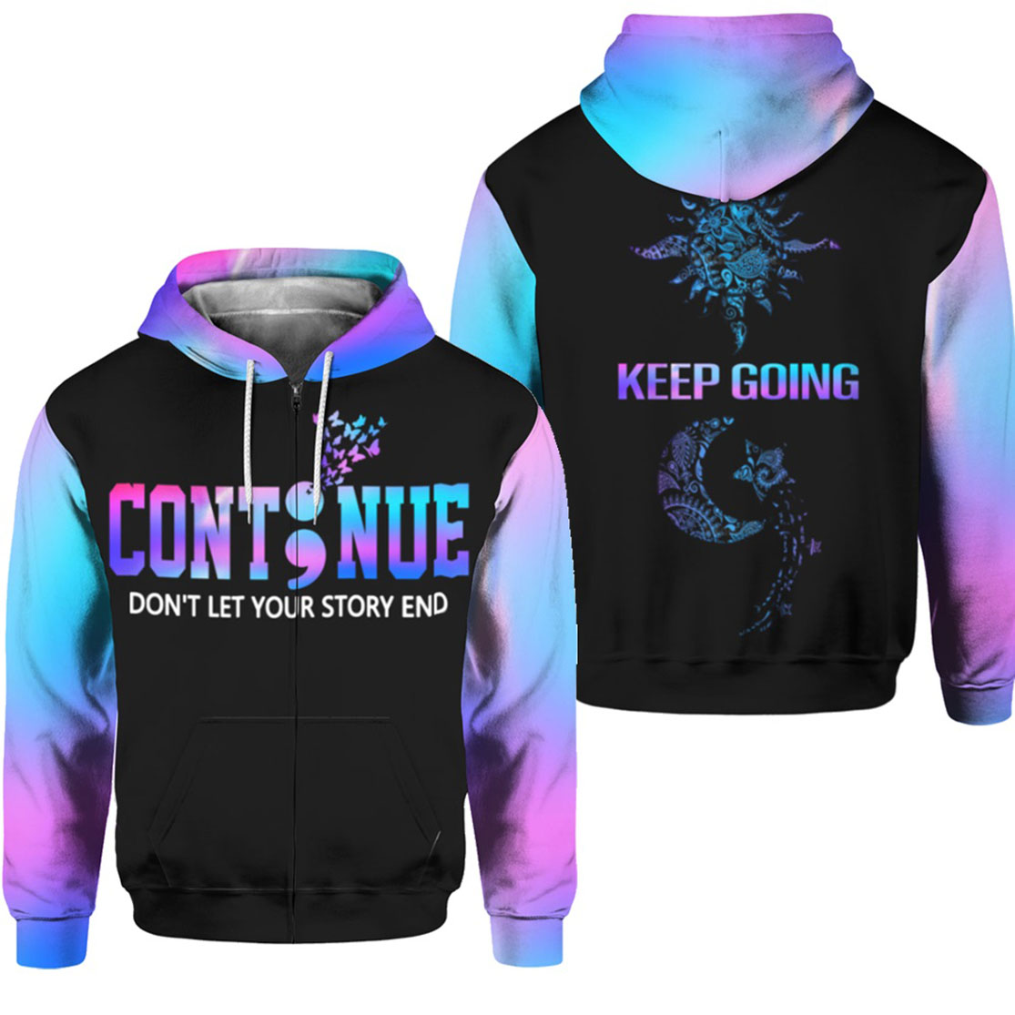 Suicide prevention awareness continue all over print zip hoodie