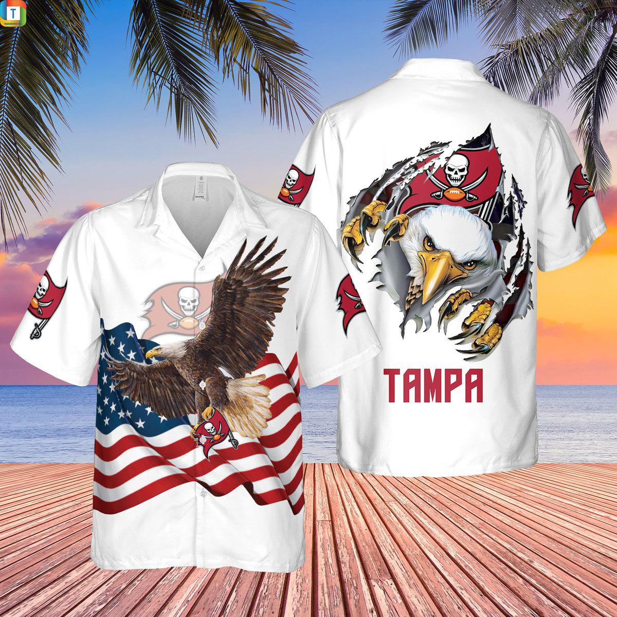 Tampa Bay Buccaneers Eagle American FlagHawaiian Shirt