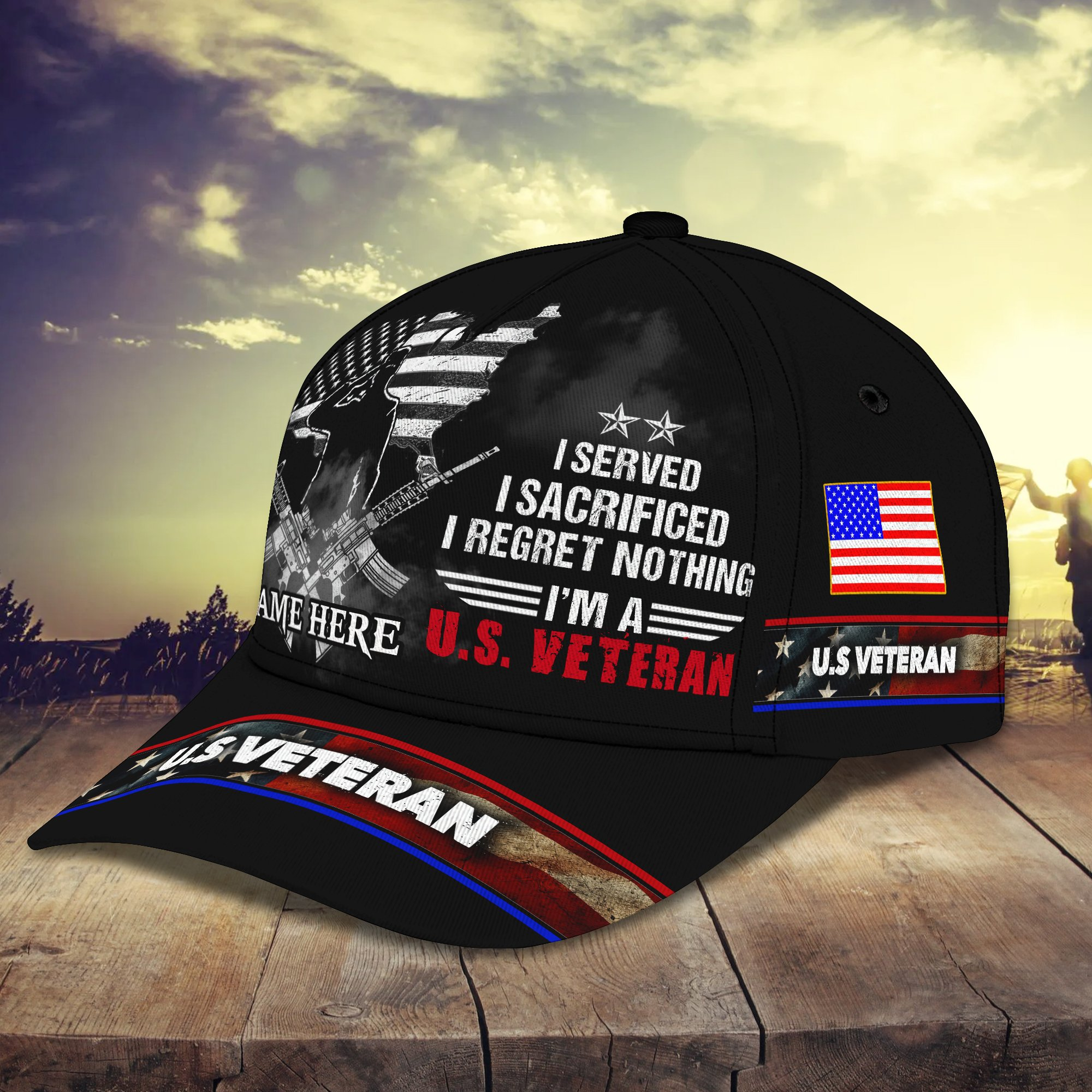 US Veteran I Served I Sacrificed I Reget Nothing Personalized Hat Cap