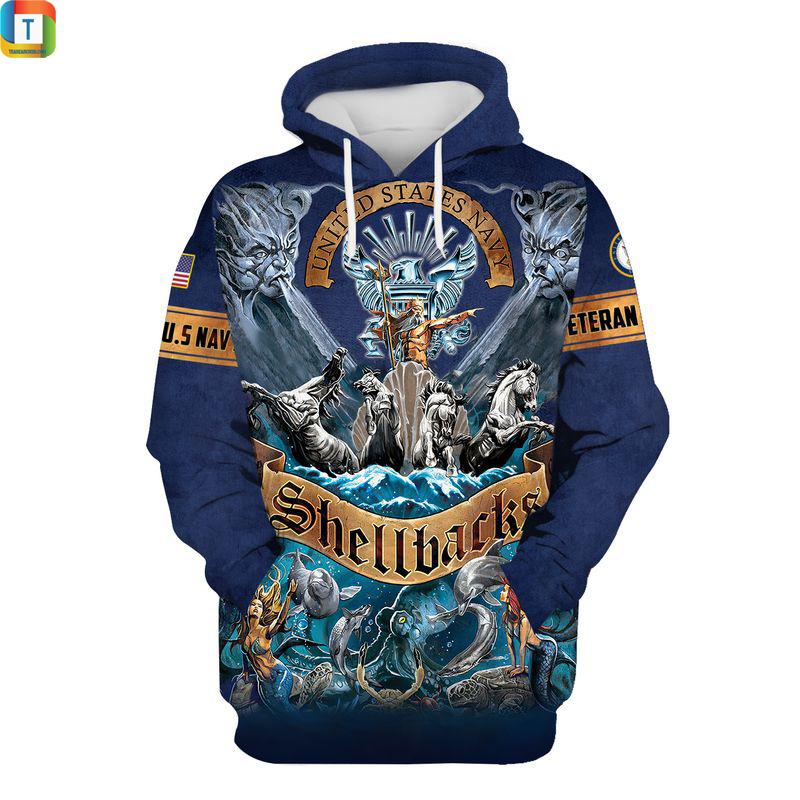 US navy shellback veteran 3d all over printed hoodie
