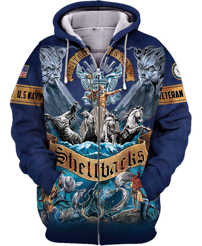 US navy shellback veteran 3d all over printed zip hoodie