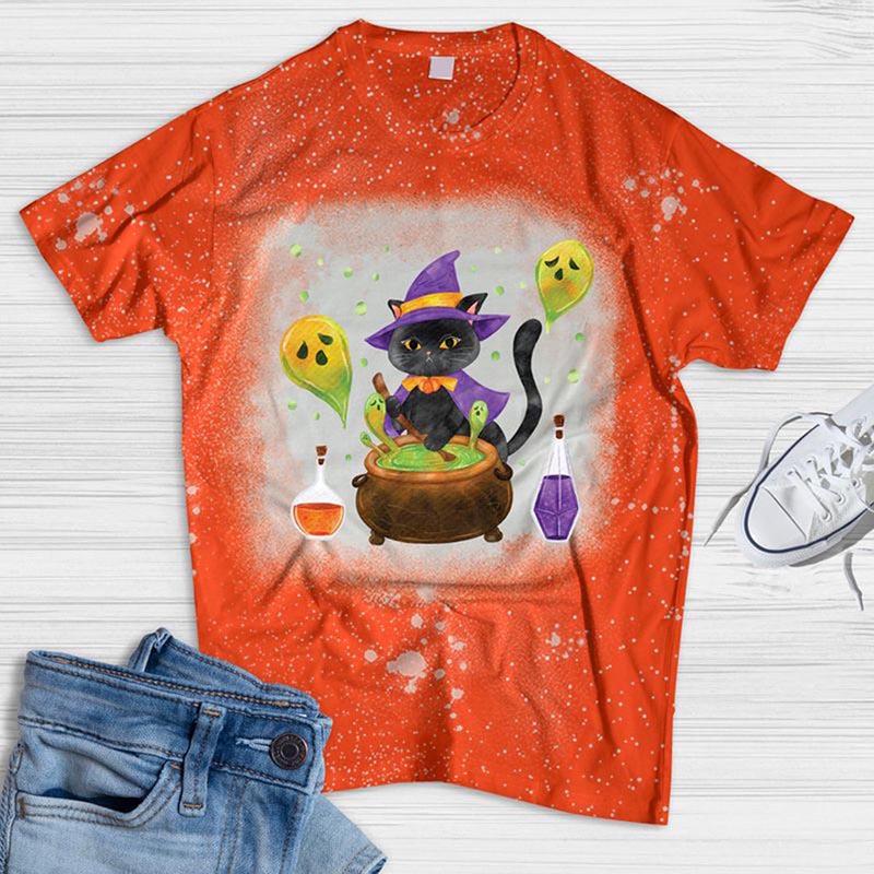 Watercolor Halloween Cat Bleached T-shirt