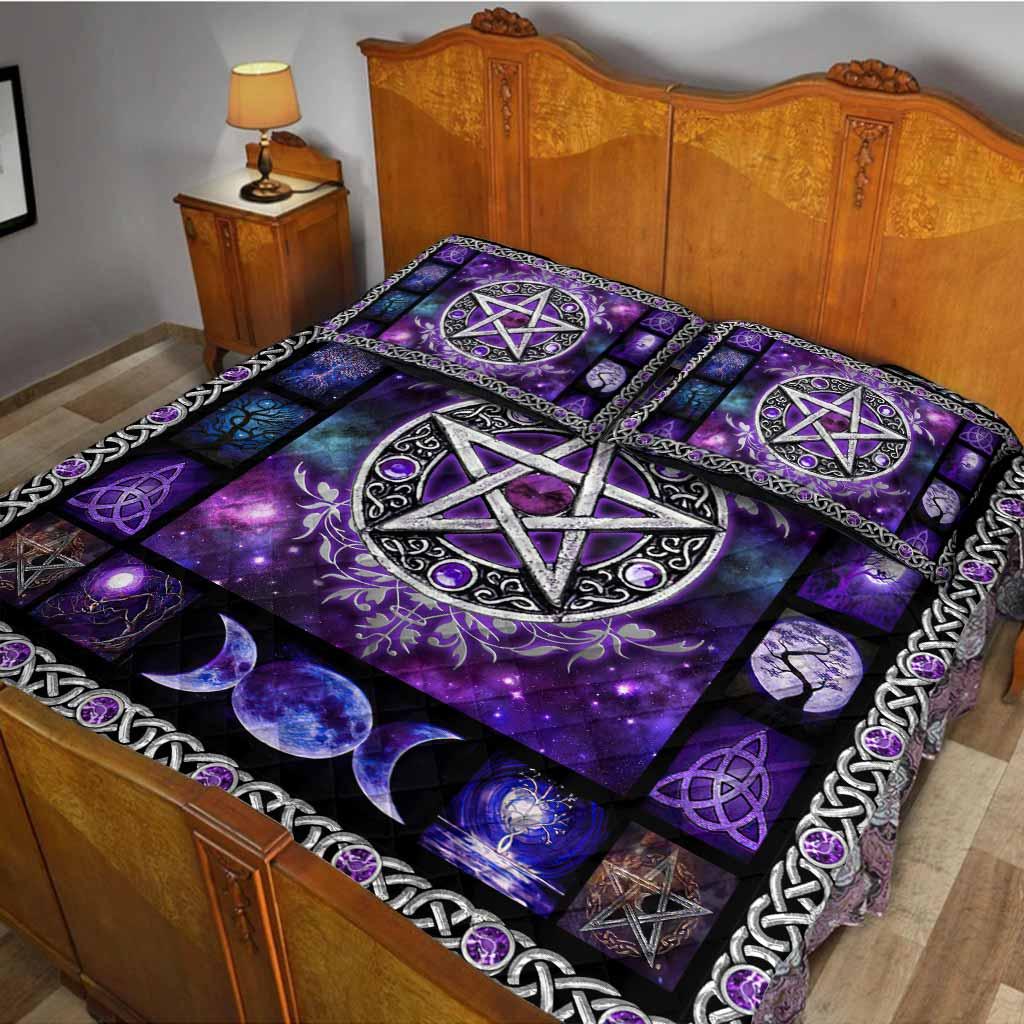 Witch Vibes Purple Pentagram Quilt Bedding Set