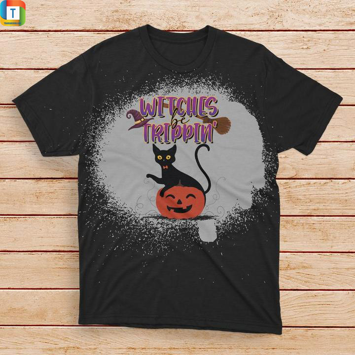 Witches be trippin halloween black cat bleached t-shirt