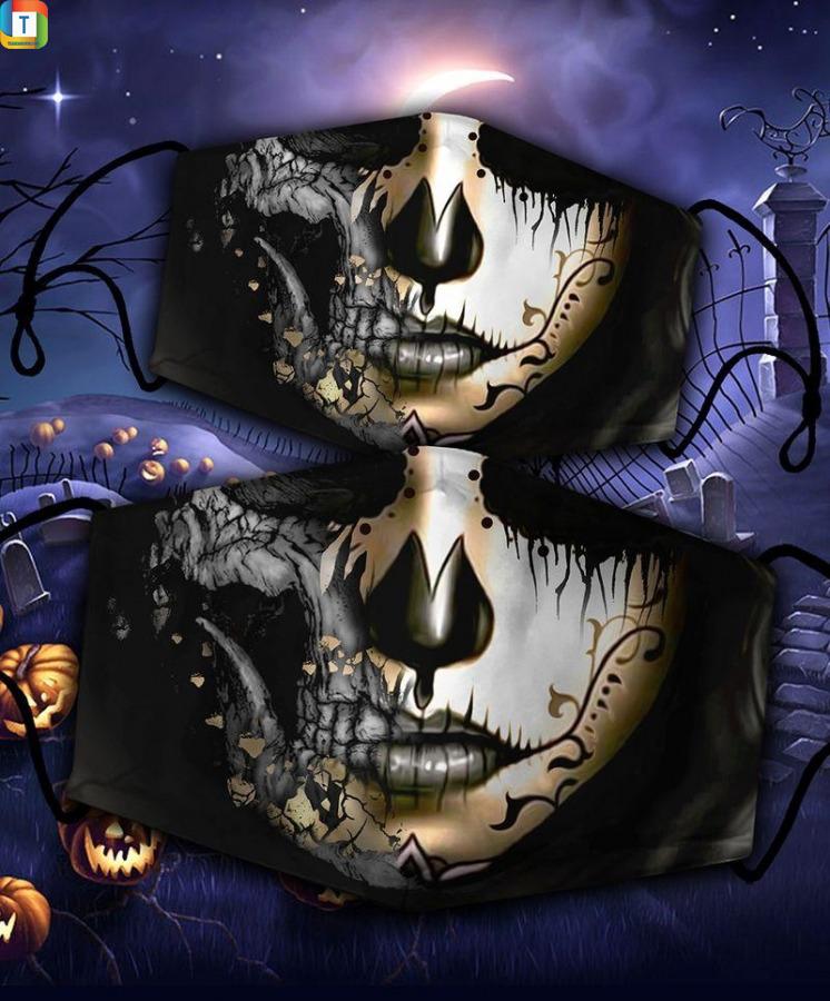 Sugar skull girl halloween 3d face mask face cover