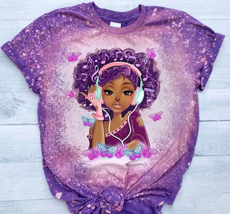 African American Girl Love Music Bleached Shirt