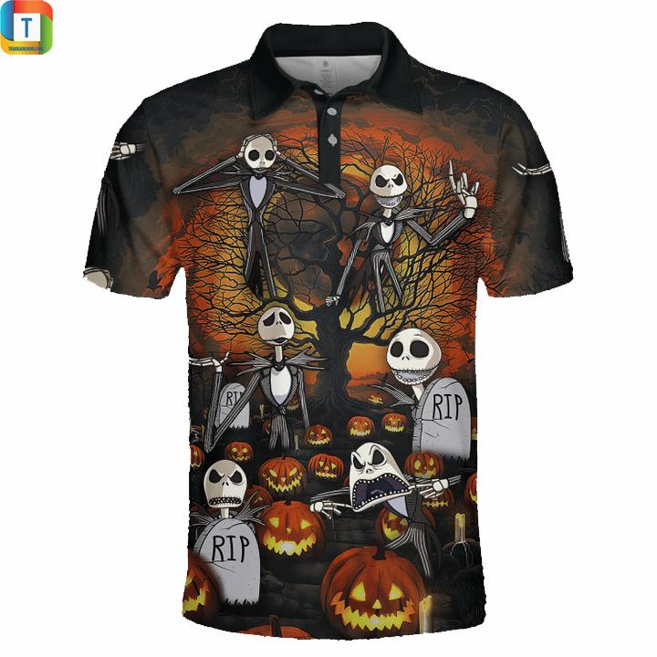 Jack skelington halloween 3d polo shirt