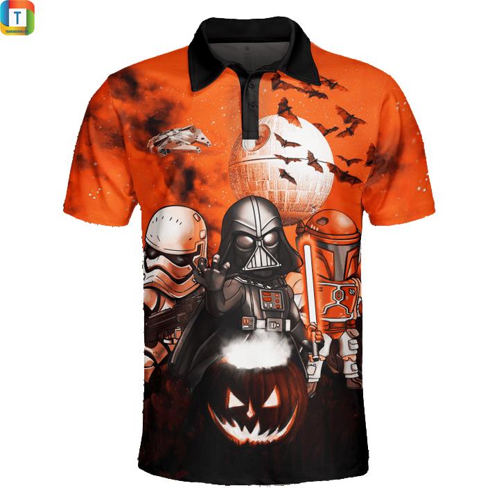 Star wars darth vader boba fett stormtrooper halloween night polo shirt