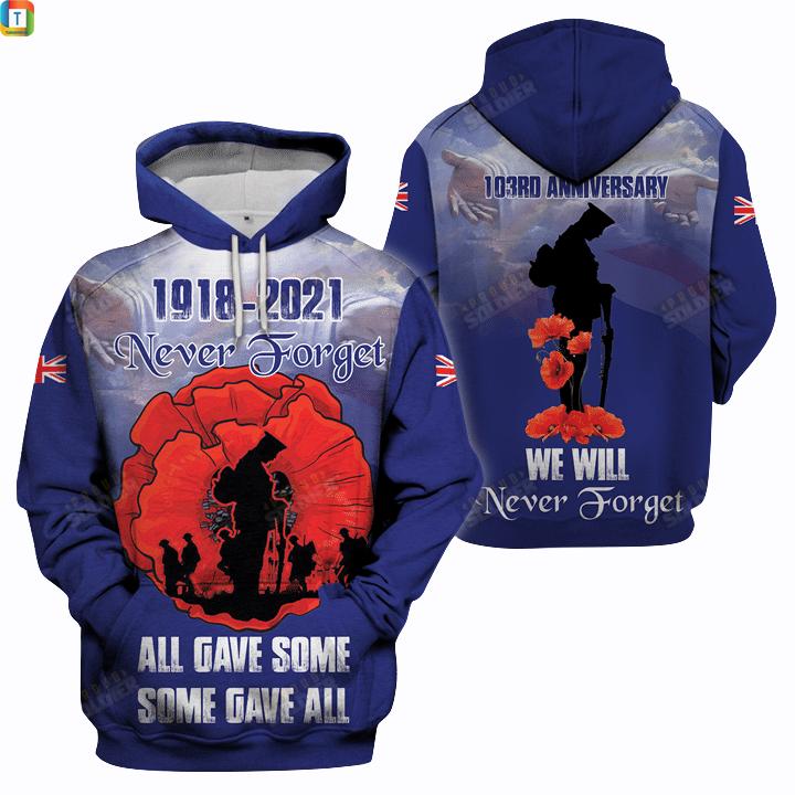 1918 2021 never forget UK veteran 3d all-over printed hoodie