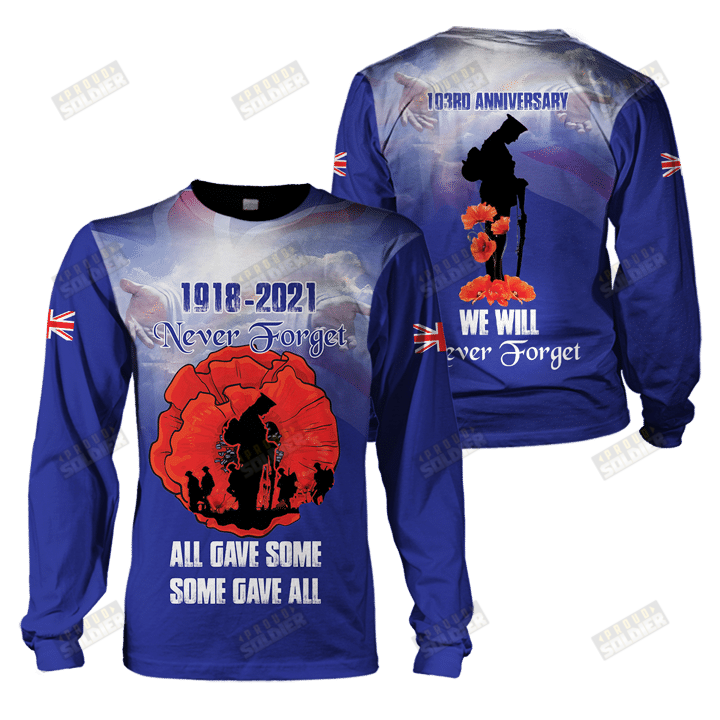 1918 2021 never forget UK veteran 3d all-over printed long sleeve