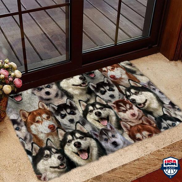 A Bunch Of Huskies Doormat