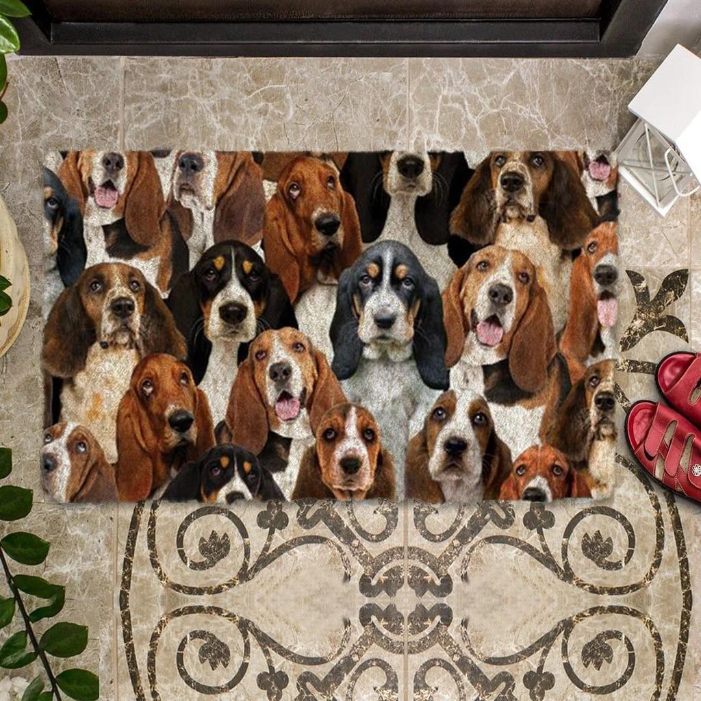 A Bunch Of Basset Hounds Doormat 1