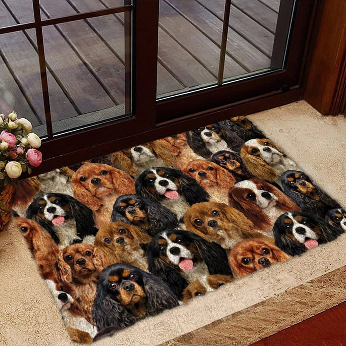 A Bunch Of Cavalier King Charles Spaniels Doormat