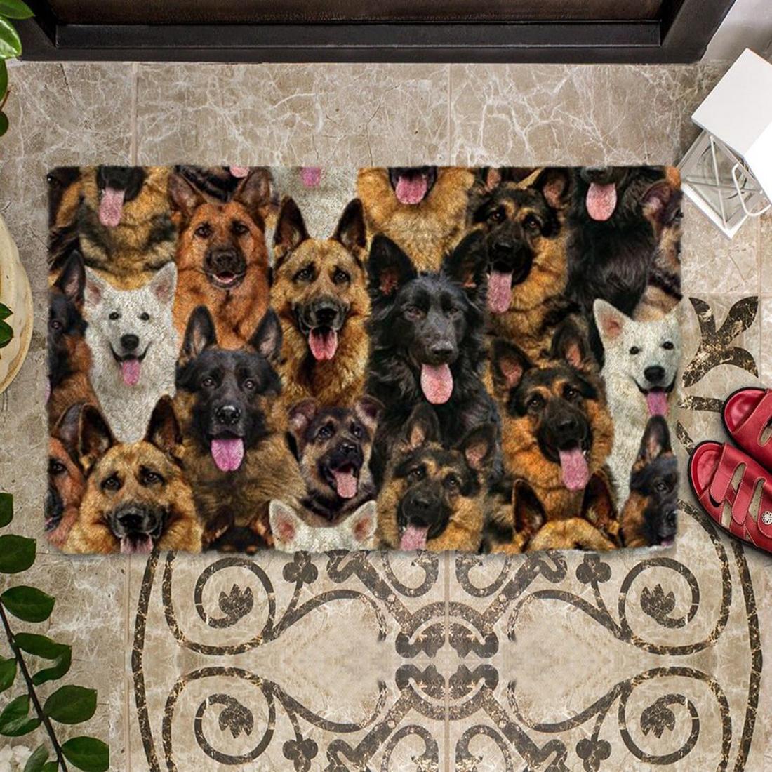 A Bunch Of German Shepherds Doormat