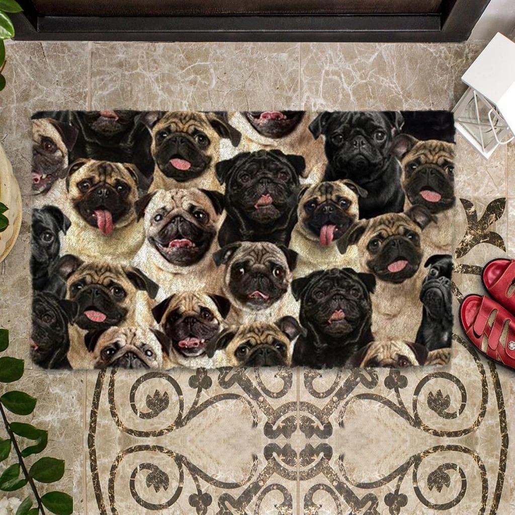 A Bunch Of Pugs Doormat 1