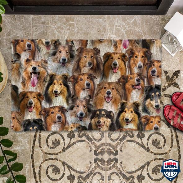 A Bunch Of Rough Collies Doormat