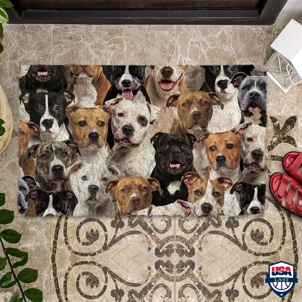 A Bunch Of Staffordshire Bull Terriers Doormat