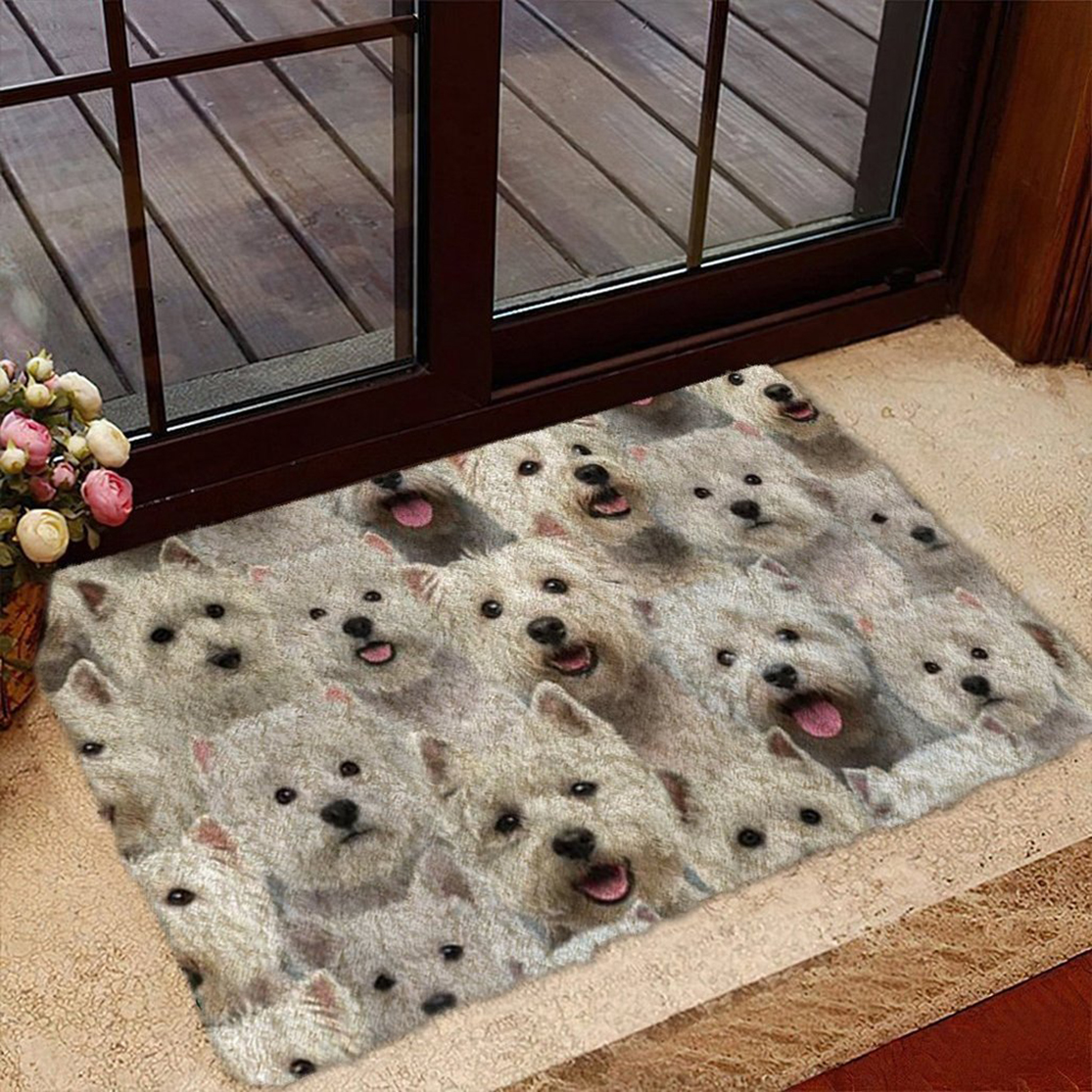 A Bunch Of West Highland White Terriers Doormat