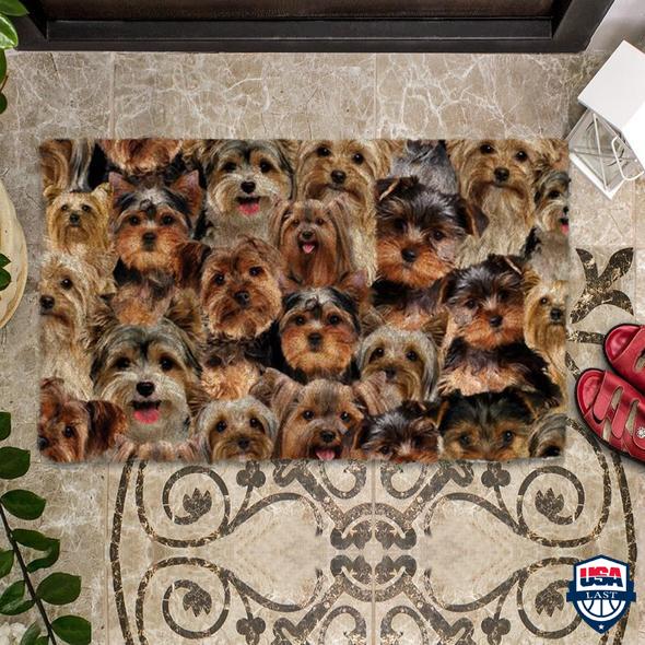 A Bunch Of Yorkshire Terriers Doormat