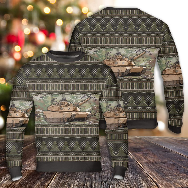 Abrams Battle Tank Ugly Christmas Sweater