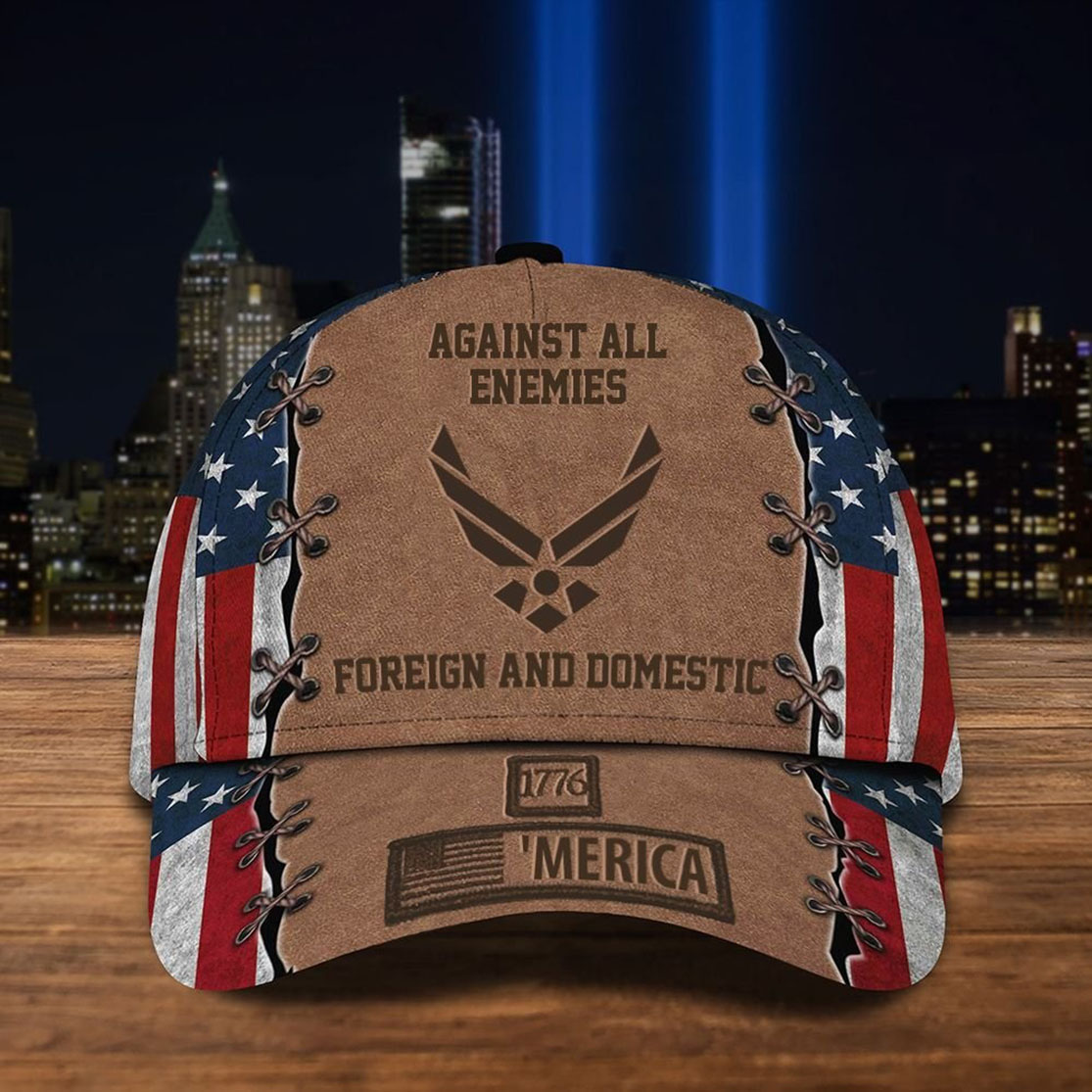 Air Force Hat 1776 'Merica Against All Enemies Foreign And Domestic Cap