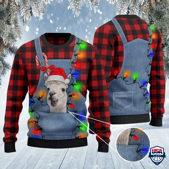 Alpaca Lovers Red Plaid Shirt And Denim Bib Overalls All Over Print Sweater