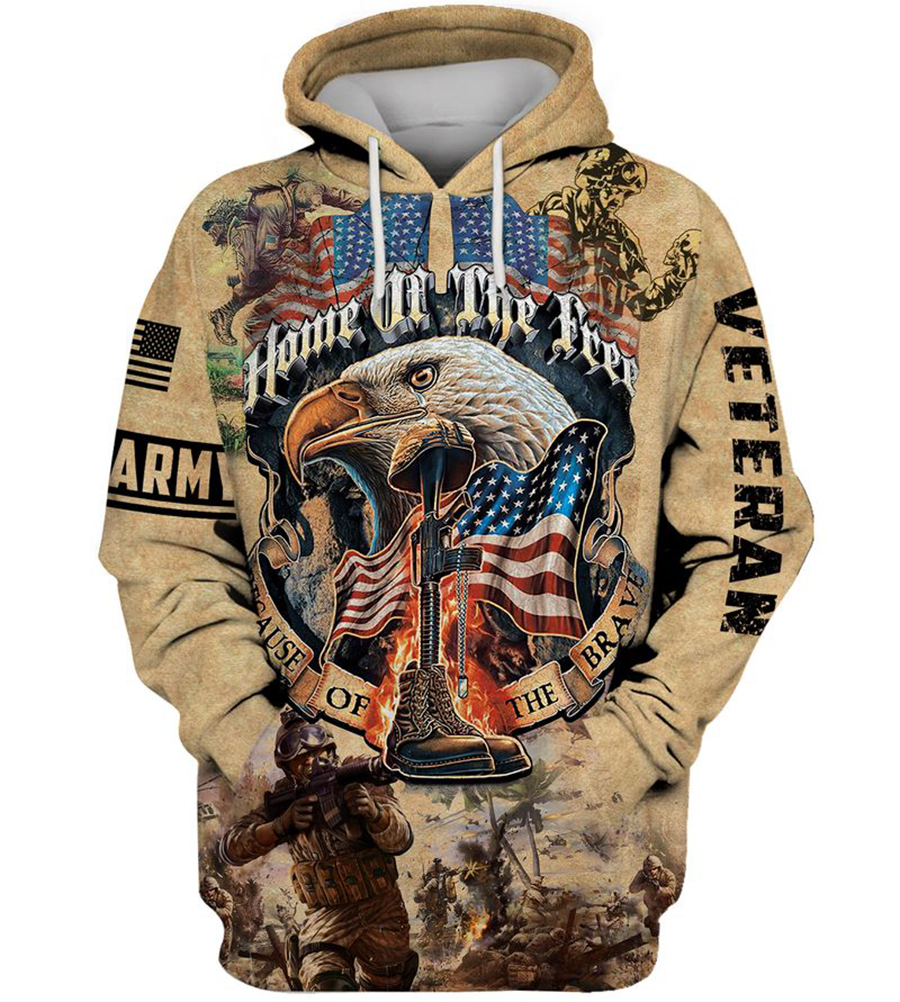 Army veteran Home of the free because of the brave 3d hoodie