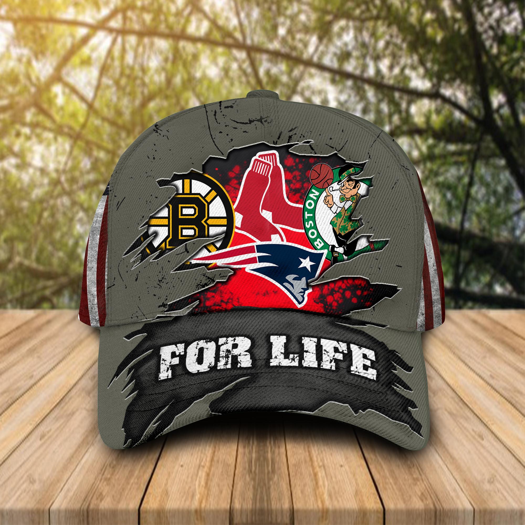 Boston Celtics, New England Patriots, Boston Bruins, Boston Red Sox For Life Cap