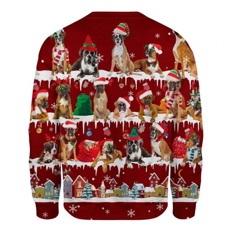 Boxer Dog Snow Christmas 3D Ugly Sweater