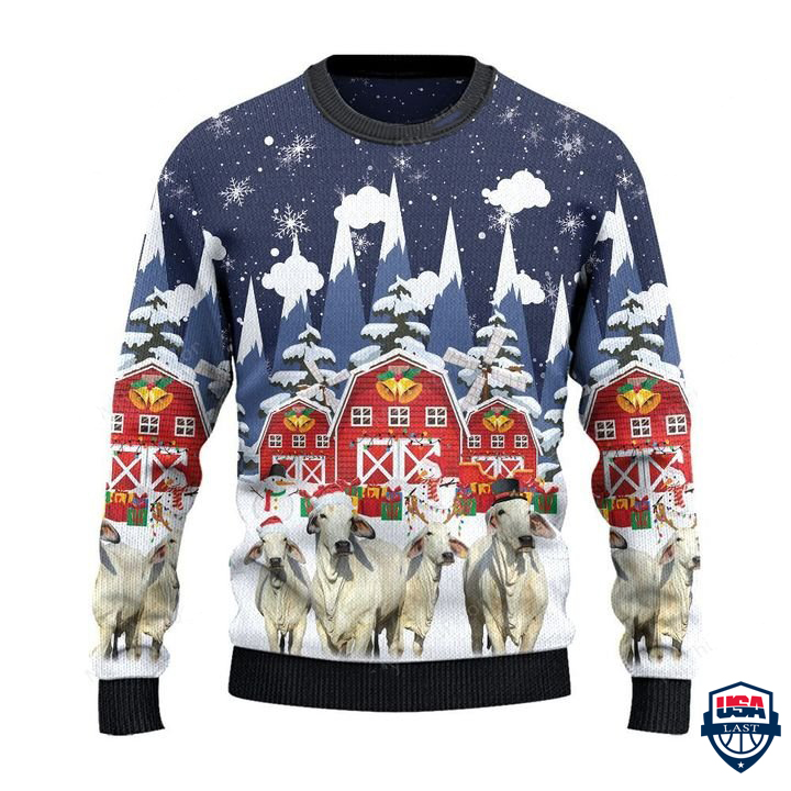 Brahman Cattle Lovers Christmas Gift Snow Farm 3D Full Print Sweater