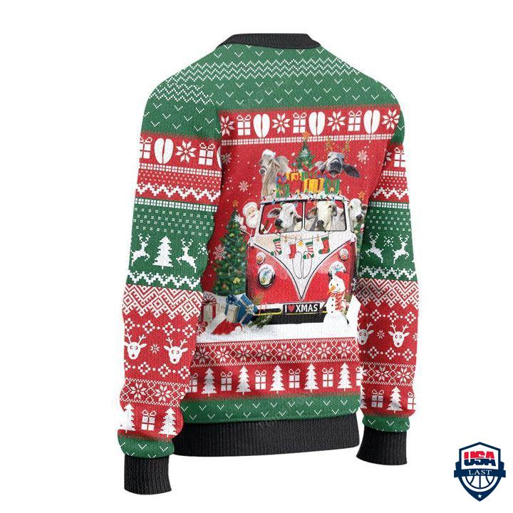 Brahman Cattle Lovers Christmas Van All Over Print Sweater