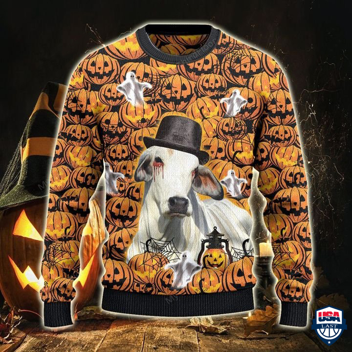 Brahman Cattle Lovers Halloween Pumpkin 3D Ugly Sweater