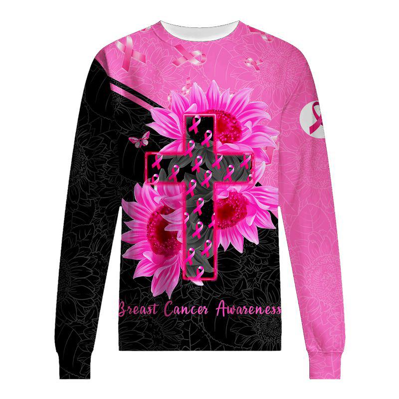 Breast Cancer Awareness Faith Hope Strength 3D Shirt