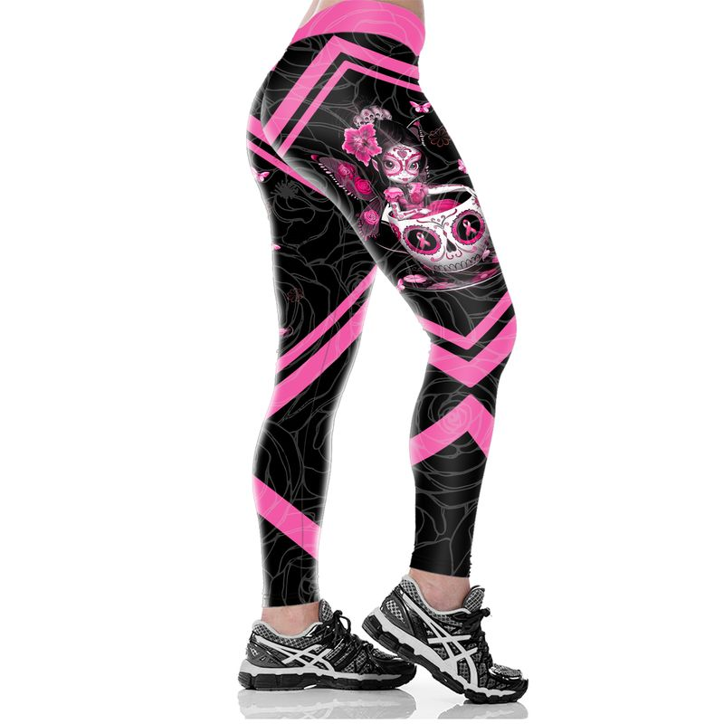 Breast Cancer Awareness Suger Skull Fairy Fight Like A Girl 3D Clothing