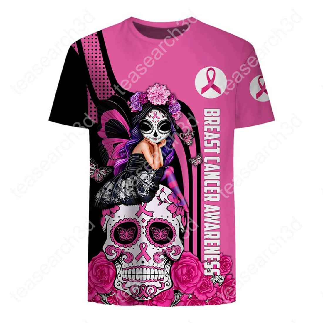 Breast cancer awareness Fight like a girl sugar skull fairy 3d t-shirt and cap