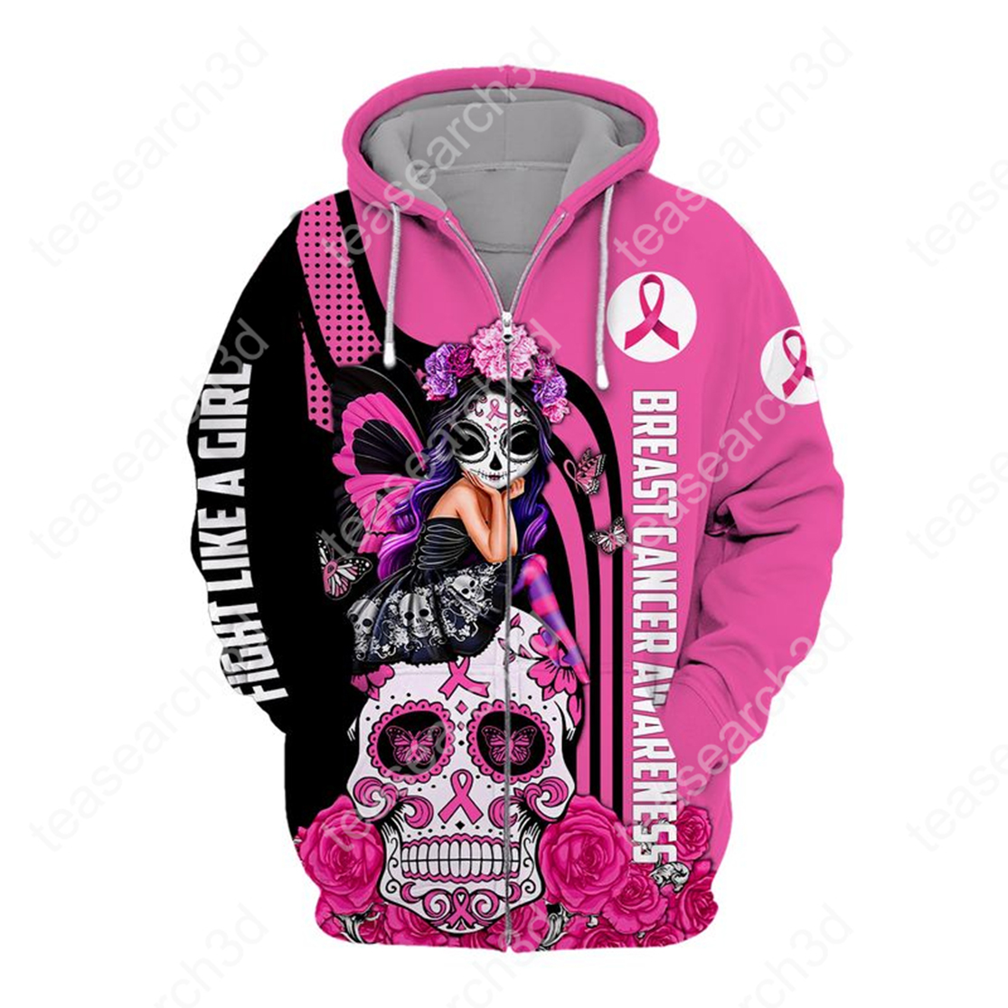 Breast cancer awareness Fight like a girl sugar skull fairy 3d zip hoodie