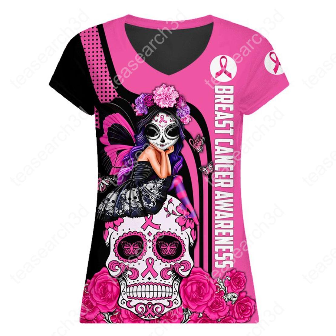 Breast cancer awareness Fight like a girl sugar skull fairy legging 3d v-neck