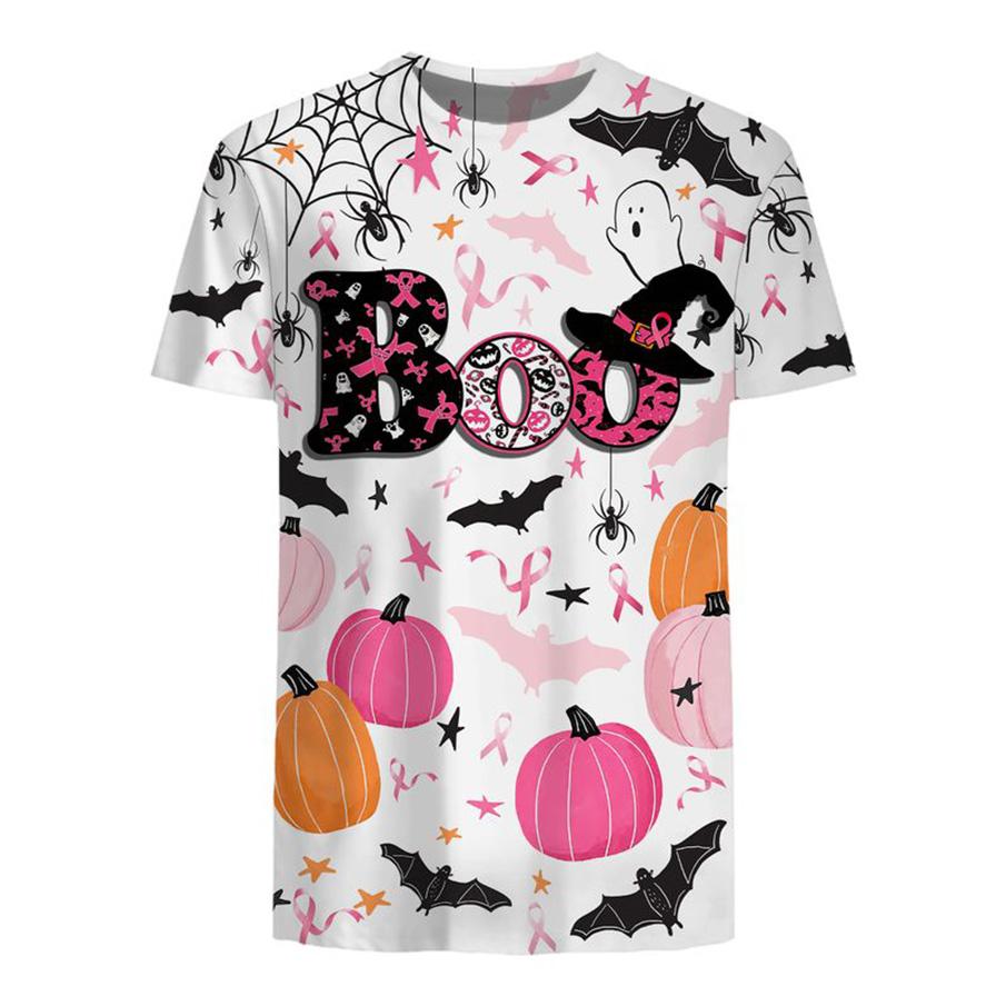 Breast cancer awareness boo pumpkin halloween 3d t-shirt