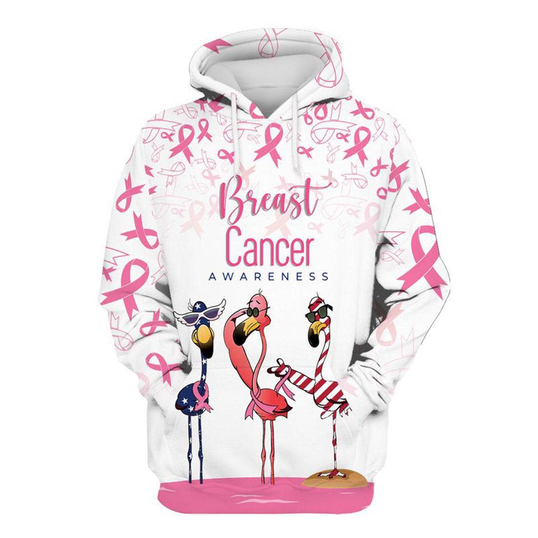 Breast cancer awareness flamingo 3d hoodie