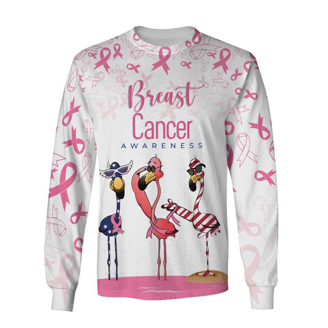 Breast cancer awareness flamingo 3d sweatshirt
