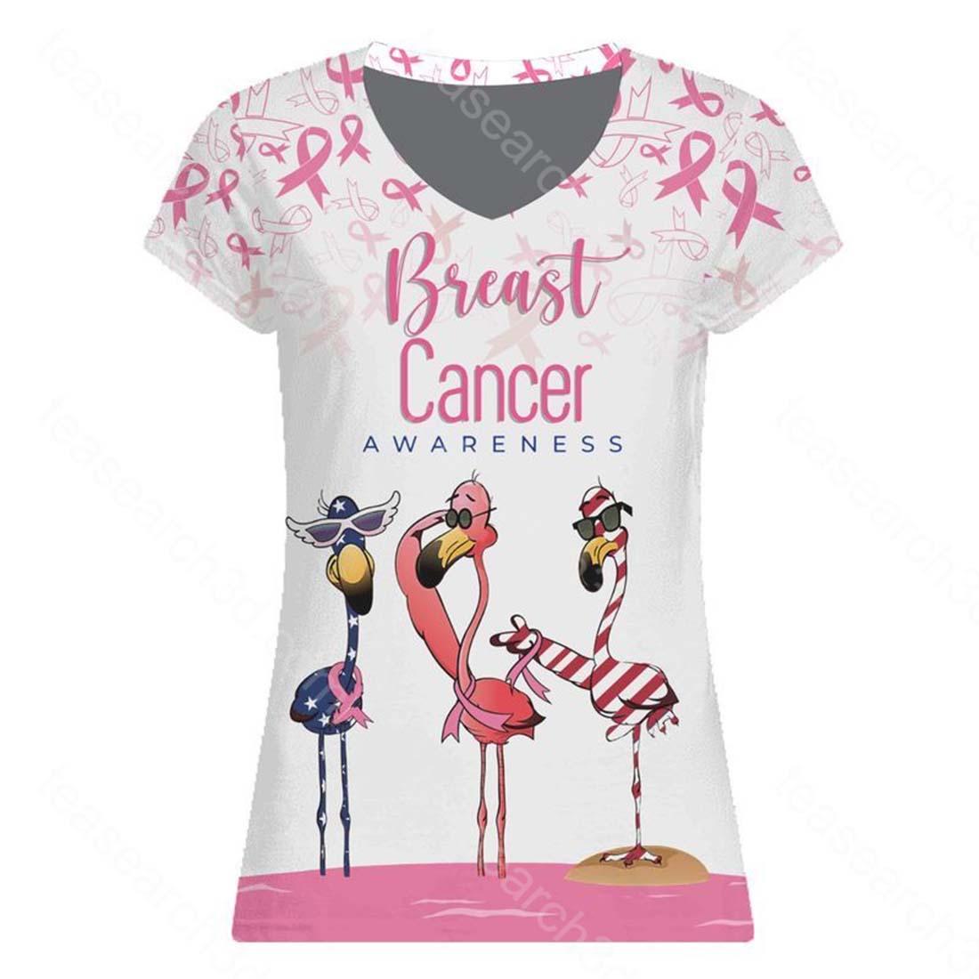 Breast cancer awareness flamingo american flag 3d v-neck