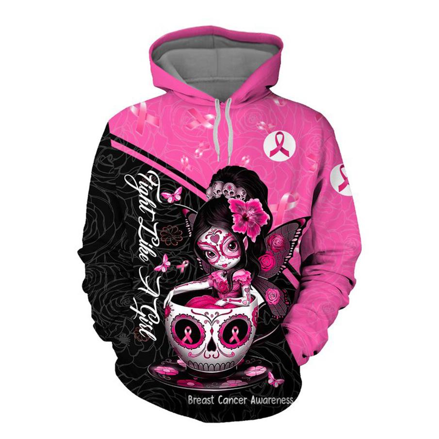 Breast cancer awareness tea cup sugar skull fairy 3d hoodie