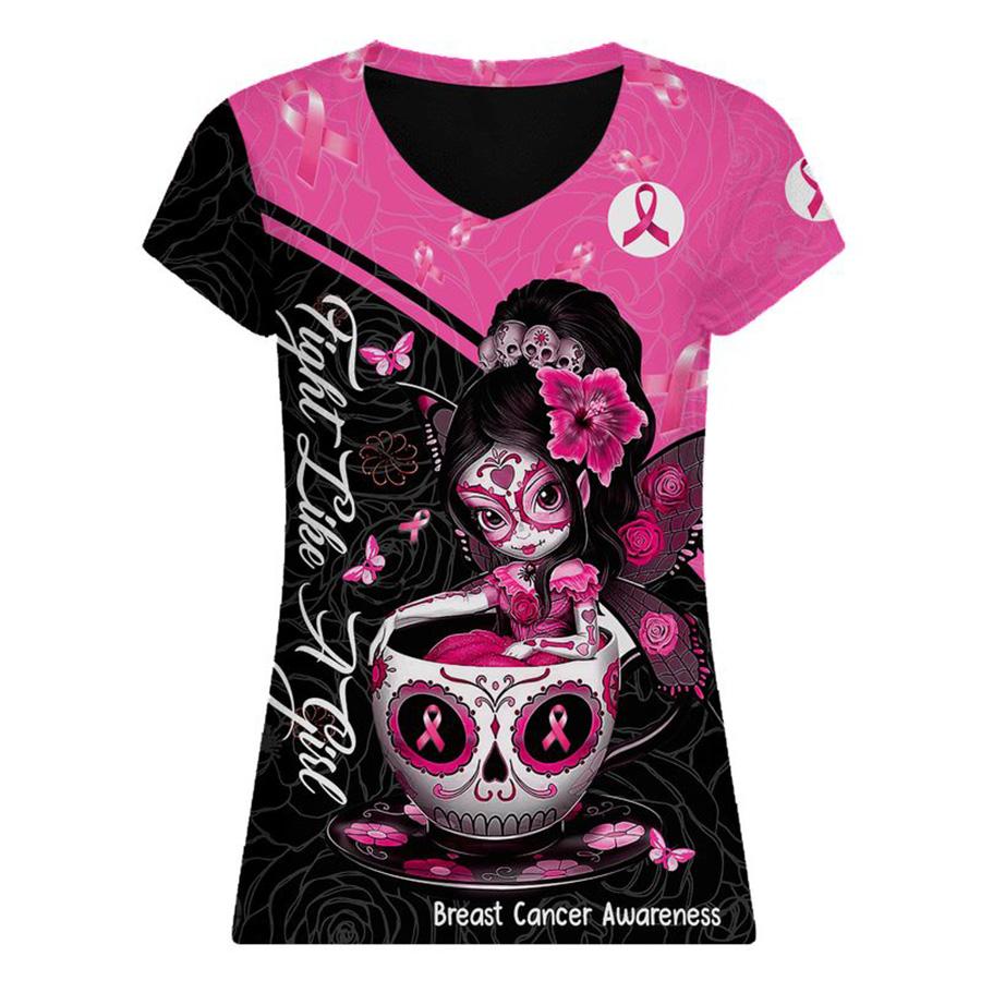 Breast cancer awareness tea cup sugar skull fairy 3d v-neck
